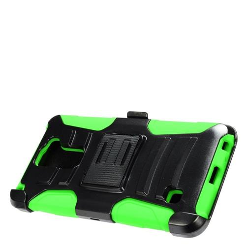 Insten Hard Dual Layer Plastic Silicone Case w/Holster For LG Stylus 2, Black/Green