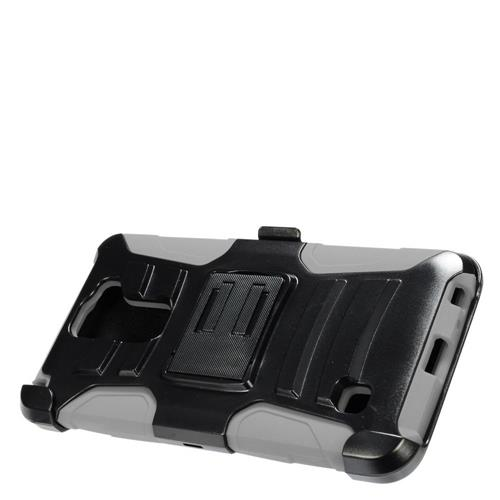 Insten Hard Dual Layer Plastic Silicone Cover Case w/Holster For LG Stylus 2, Black/Gray