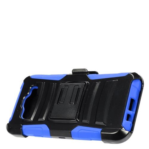 Insten Hard Dual Layer Plastic Silicone Cover Case w/Holster For Samsung Galaxy E5, Black/Blue