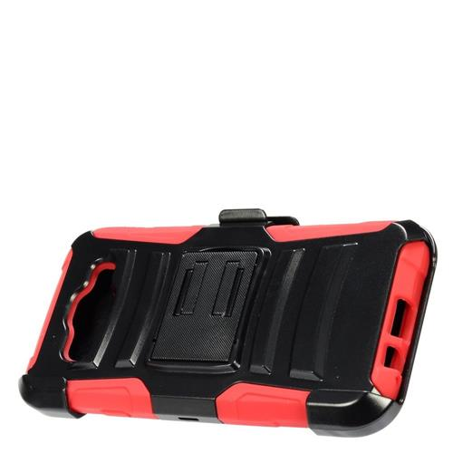 Insten Hard Hybrid Plastic Silicone Case w/Holster For Samsung Galaxy E5, Black/Red