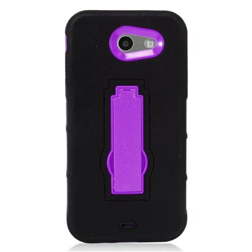 Insten Symbiosis SoftRubber Hard Case w/stand For Samsung Galaxy J3 (2017), Black/Purple