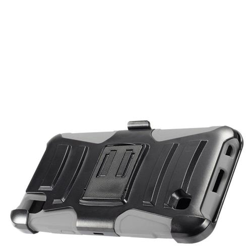Insten Armor Hard Dual Layer Plastic Silicone Case w/stand/Holster For LG X Power, Black/Gray