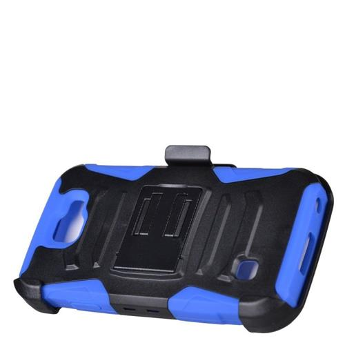 Insten Armor Hard Dual Layer Plastic Silicone Case w/stand/Holster For LG K3 (2016), Black/Blue