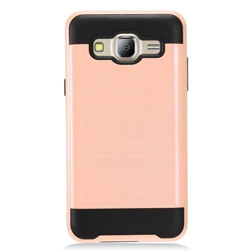 Insten Chrome Dual Layer Brushed Hard Cover Case For Samsung Galaxy On5, Rose Gold/Black