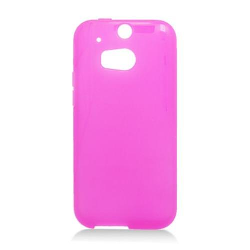 Insten Frosted Gel Cover Case For HTC One M8, Hot Pink