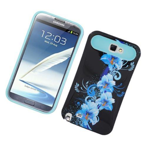 Insten Night Glow Flowers Hard Jelly Silicone Cover Case For Samsung Galaxy Note II, Black/Blue