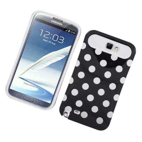 Insten Night Glow Polka Dots Hard Jelly Silicone Case For Samsung Galaxy Note II, Black/White