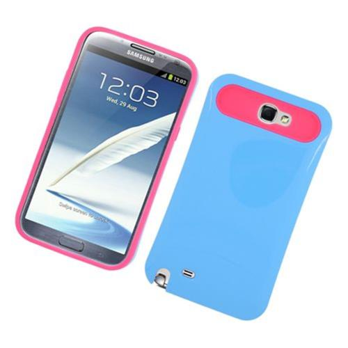 Insten Night Glow Hard Jelly Silicone Cover Case For Samsung Galaxy Note II, Blue/Hot Pink