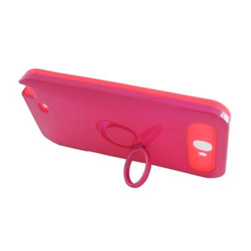 Insten Night Glow Hard Jelly Silicone Case w/Ring stand For Samsung Galaxy Note II, Hot Pink
