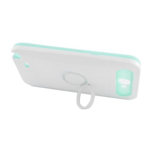 Insten Night Glow Hard Jelly Silicone Case w/Ring stand For Samsung Galaxy Note II, White/Mint Green