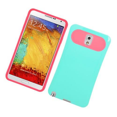 Insten Night Glow Hard Jelly Silicone Case For Samsung Galaxy Note 3, Mint Green/Hot Pink