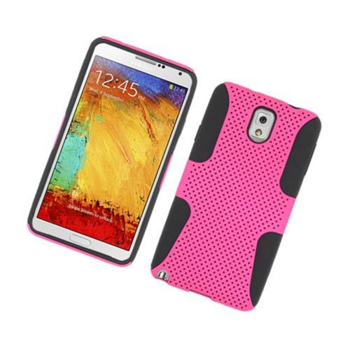 Insten Mesh Hard Hybrid TPU Case For Samsung Galaxy Note 3, Hot Pink/Black