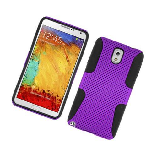 Insten Mesh Hard Hybrid TPU Cover Case For Samsung Galaxy Note 3, Purple/Black