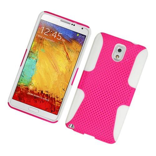 Insten Mesh Hard Hybrid TPU Case For Samsung Galaxy Note 3, Hot Pink/White