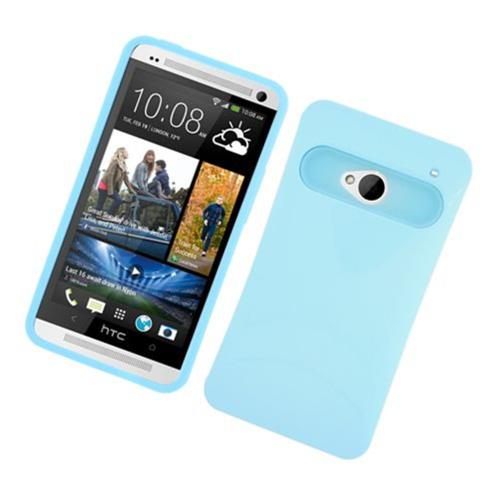 Insten Night Glow Hard Jelly Silicone Cover Case For HTC One M7, Blue