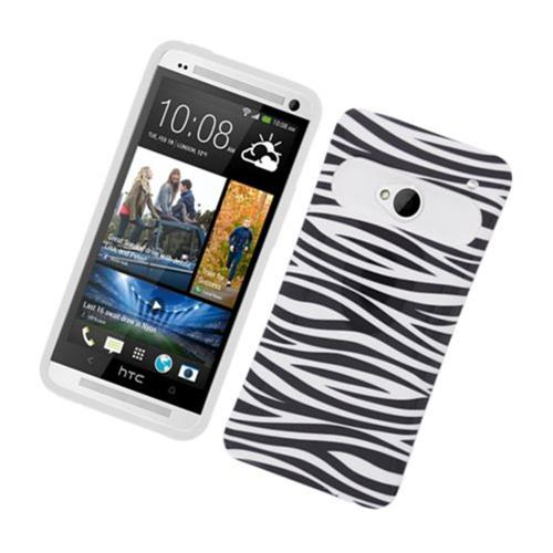 Insten Night Glow Zebra Hard Jelly Silicone Case For HTC One M7, Black/White