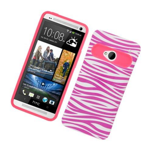 Insten Night Glow Zebra Hard Jelly Silicone Cover Case For HTC One M7, Hot Pink/White