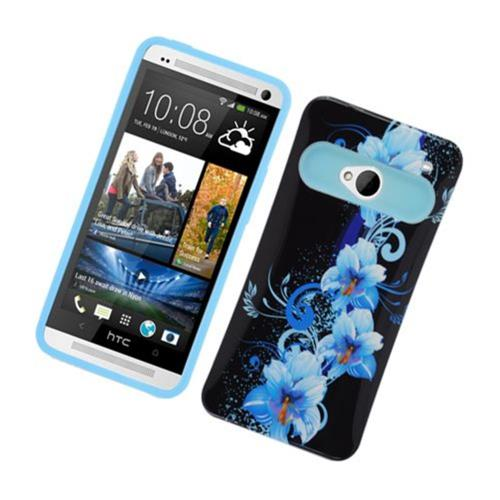 Insten Night Glow Flowers Hard Jelly Silicone Cover Case For HTC One M7, Black/Blue