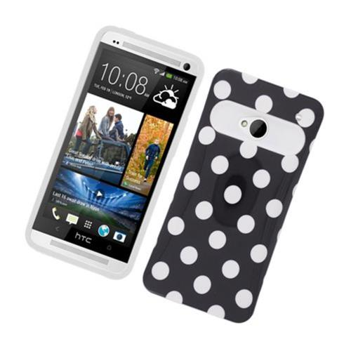 Insten Night Glow Polka Dots Hard Jelly Silicone Case For HTC One M7, Black/White