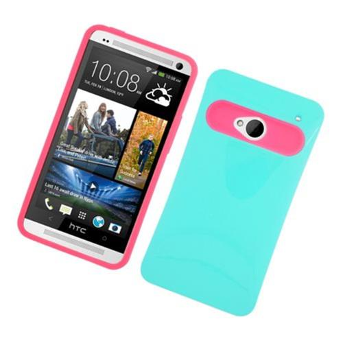 Insten Night Glow Hard Jelly Silicone Cover Case For HTC One M7, Green/Hot Pink