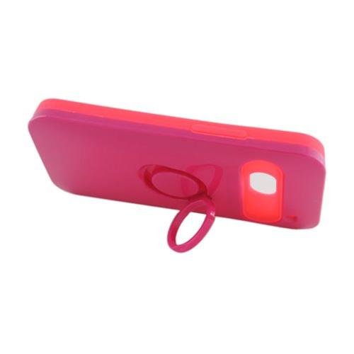 Insten Night Glow Hard Jelly Silicone Cover Case w/Ring stand For HTC One M7, Hot Pink