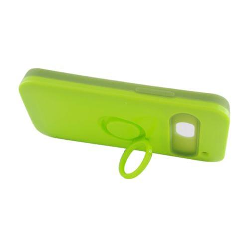 Insten Night Glow Hard Jelly Silicone Cover Case w/Ring stand For HTC One M7, Neon Green