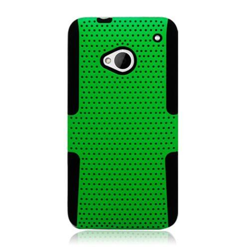 Insten Mesh Hard Dual Layer TPU Case For HTC One M7, Green/Black