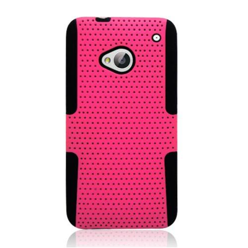 Insten Mesh Hard Dual Layer TPU Cover Case For HTC One M7, Hot Pink/Black