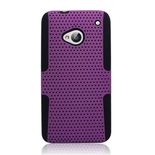 Insten Mesh Hard Hybrid TPU Case For HTC One M7, Purple/Black