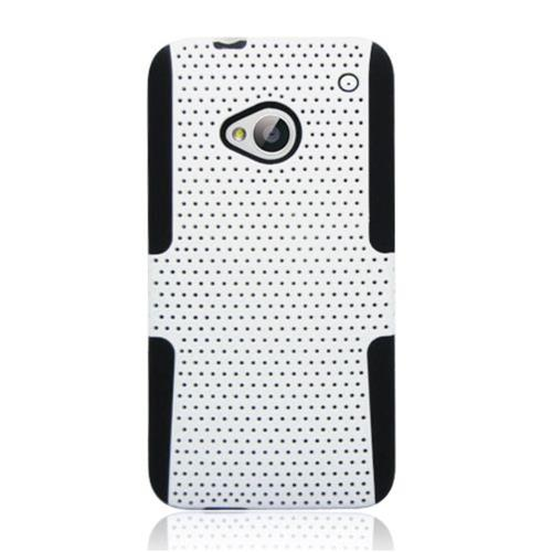 Insten Mesh Hard Hybrid TPU Cover Case For HTC One M7, White/Black