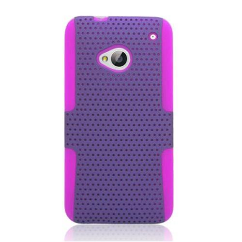 Insten Mesh Hard Hybrid TPU Cover Case For HTC One M7, Purple/Hot Pink
