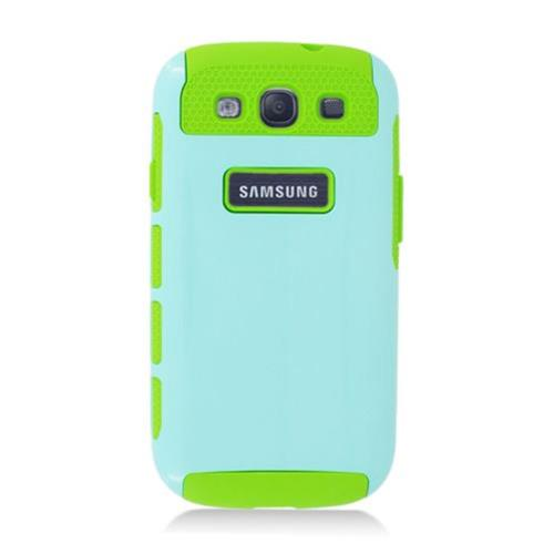 Insten Nest Hard Dual Layer TPU Case For Samsung Galaxy S3, Light Blue/Green