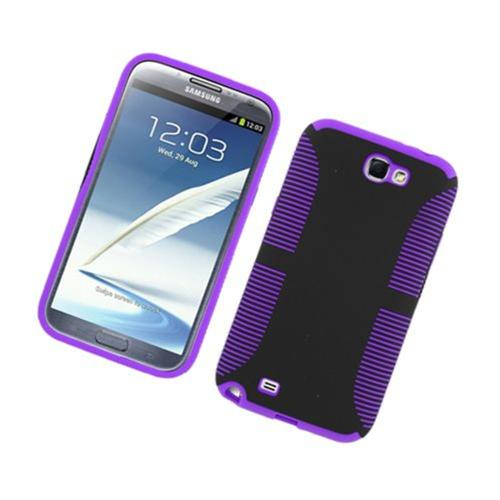 Insten Hard Dual Layer TPU Case For Samsung Galaxy Note II, Black/Purple
