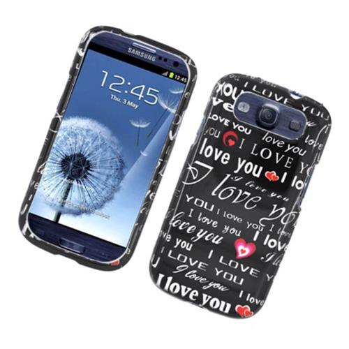 Insten Love You Hard Cover Case For Samsung Galaxy S3, Black/White