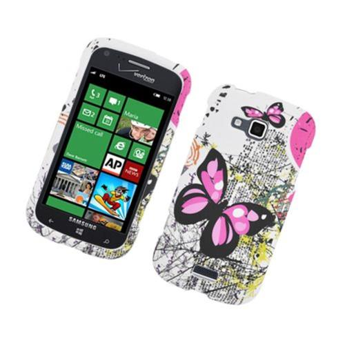 Insten Butterfly Hard Rubber Cover Case For Samsung ATIV Odyssey, White/Pink