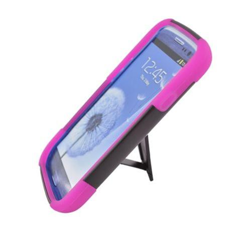 Insten Hard Dual Layer Plastic Silicone Cover Case w/stand For Samsung Galaxy S3, Black/Hot Pink