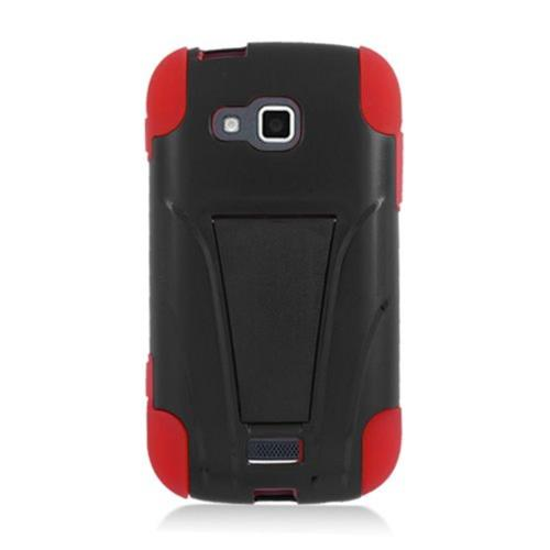Insten Hard Hybrid Plastic Silicone Cover Case w/stand For Samsung ATIV Odyssey, Black/Red