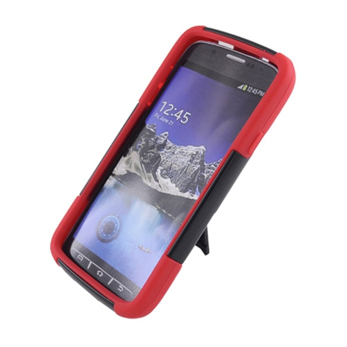 Insten Hard Dual Layer Plastic Silicone Case w/stand For Samsung Galaxy S4 Active, Black/Red
