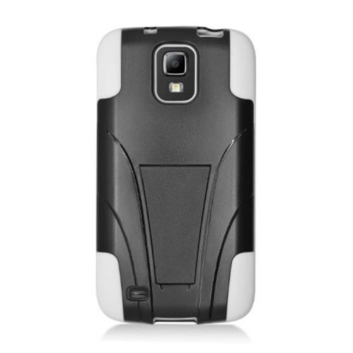 Insten Hard Dual Layer Plastic Silicone Case w/stand For Samsung Galaxy S4 Active, Black/White