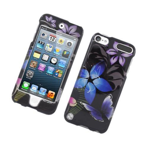 Insten Butterfly Hard Case For Apple iPod Touch 5th Gen, Black/Purple