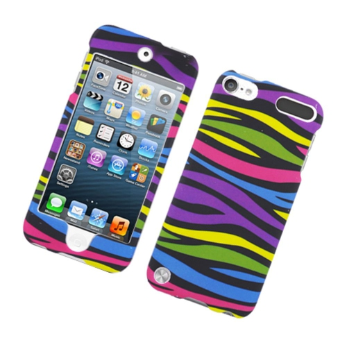 Insten Zebra Hard Rubber Cover Case For Apple iPod Touch 5th Gen, Colorful