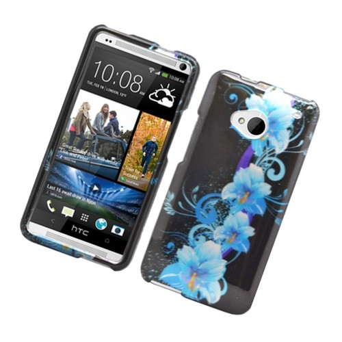 Insten Flowers Hard Cover Case For HTC One M7, Black/Blue