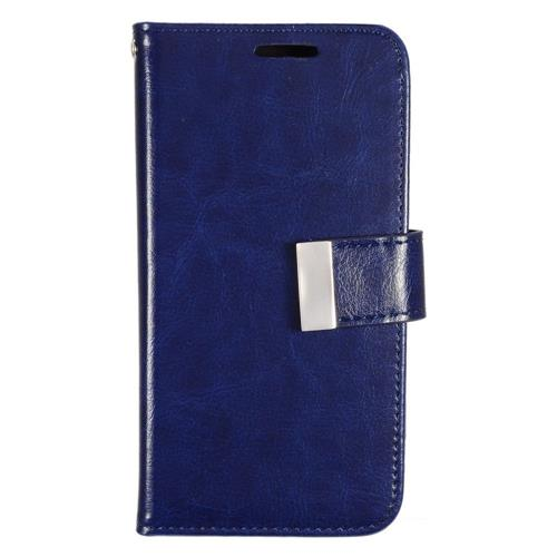 Insten Book-Style Leather Fabric Case w/card slot/Photo Display For Samsung Galaxy S7, Blue