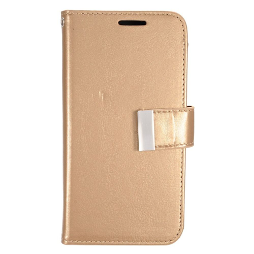 Insten Folio Leather Fabric Case w/card holder/Photo Display For Samsung Galaxy S7, Gold