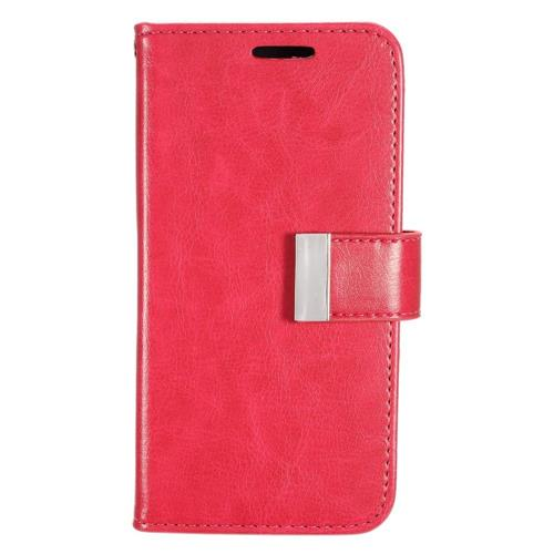 Insten Book-Style Leather Fabric Case w/card slot/Photo Display For Samsung Galaxy S7, Hot Pink