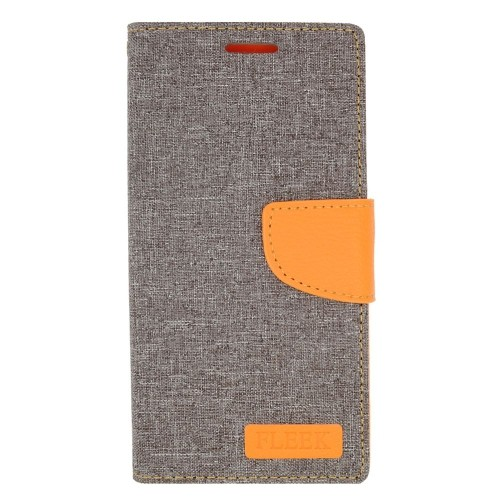 Insten Folio Leather Case w/stand/card holder/Photo Display For Samsung Galaxy Note 5, Gray/Orange