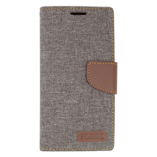 Insten Leather Fabric Case w/stand/card holder For Samsung Galaxy S6 Edge Plus, Gray/Brown