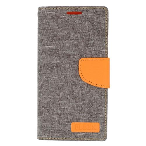 Insten Leather Case w/stand/card slot/Photo Display For Samsung Galaxy S6 Edge Plus, Gray/Orange