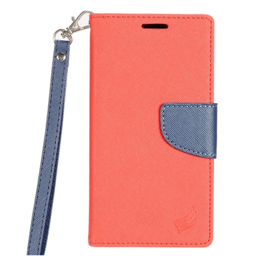 Insten Flip Leather Fabric Case Lanyard w/stand/card slot For Samsung Galaxy S7 Edge, Red/Blue