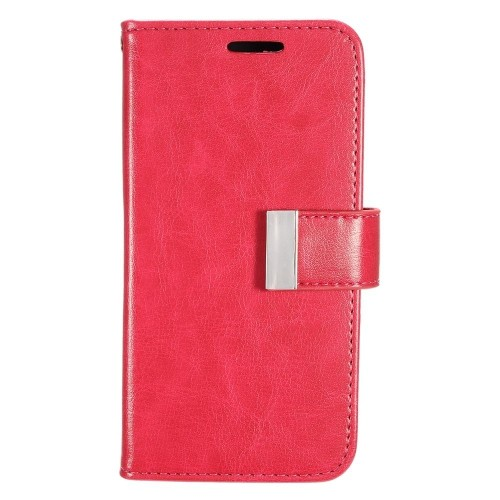 Insten Flip Leather Fabric Case w/card slot/Photo Display For Samsung Galaxy S7 Edge, Hot Pink
